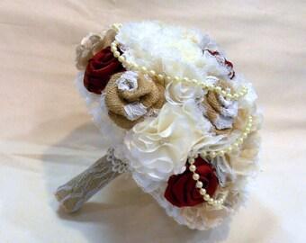 Wedding Bouquet, Bridal Bouquet, Vintage Bouquet, Shabby Chic Bouquet, Burlap Bouquet, Pearls. Red Bouquet, Burlap and Lace Bouquet