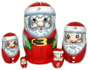 Santa on the Set of Five Russian Nesting Dolls. Small.