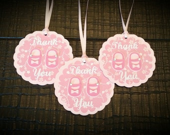 Baby Girl Favor Tags - Baby Shower Favor Tags - Thank You Favor Tags - Set of 12