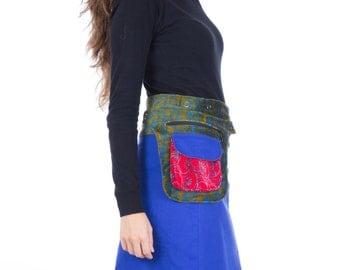 SALE!!!Velvet Free Size Reversible Cotton Knee Length Skirt  Green Blue Red Print