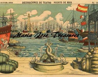 Vintage Barcelona's Seaport Spanish Miniature Theater Backgrounds - Digital Download