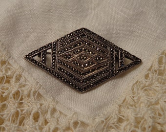 """Sterling Silver and Marcasite Diamond Shaped Pin with working back-1 3/4"""" by 1"""""""