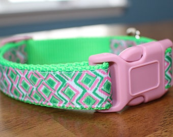 Lilly Pulitzer Inspired Pink and Green Preppy Dog Collar