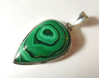 Malachite Statement pendant in sterling silver setting Natural green stone  / Gift Present Birthday christmas present for her Natural