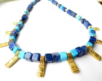 Antique jewelry from Colombia Lapis lazuli and turquoise necklace matte gold antique look, tribal  gemstone jewelry lizard ethno indians