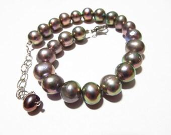 Black pearl bracelet fresh water pearls abalone shell silver  birthstone januray ,jewelry, birthday , present, giftidea, engagement,gift,