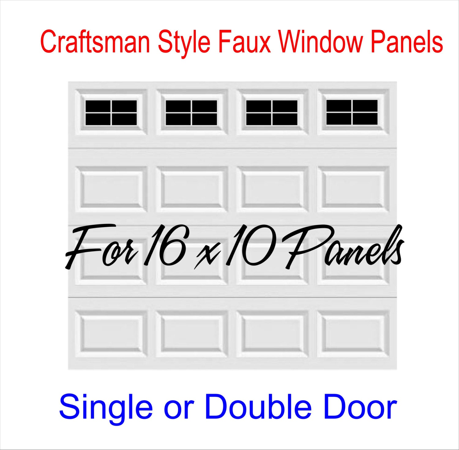 Garage Door Vinyl Window Decals: Craftsman Style Vinyl Garage Door Decal Kit 16 X 10 Faux