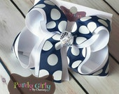 White and Navy Hairbow Large Bow School Uniforms Polka Dot Exlarge