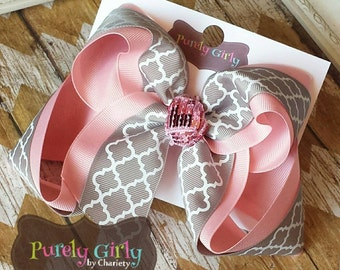 Pink and Grey Hairbow Large Quatrefoil Gray Bow