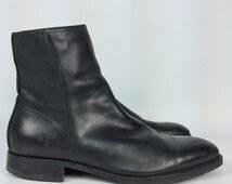 Size 9 - Mens Leather Dress Shoe Boots - Vintage Black Ankle Boots - GR by Gordon Rush