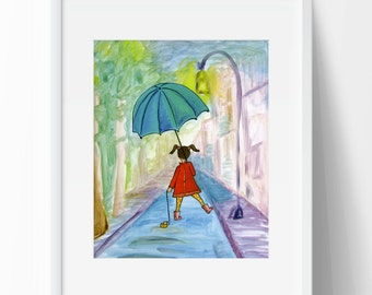 Girl Walking in Rain with Umbrella and Rubber Duck Colorful Wall Art Girl's Room Painting of Girl Rain Coat Girl's Room Girl's Nursery Cute