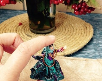 Very tiny doll Gipsy Boho traveller woman Dancing Miniature quarter scale