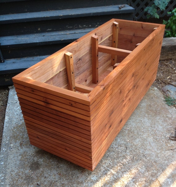 Modern Railing Planters Custom By Rushton: Tall Modern Redwood Planter Boxes Free Shipping 10 50