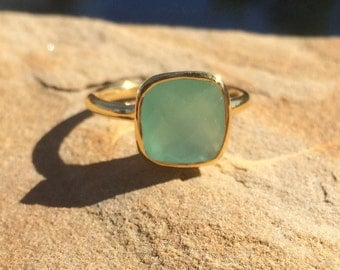 Aqua Chalcedony Ring, Aqua Chalcedony Stackable Ring, SALE 25% OFF Aqua Gold Ring