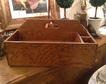 Vintage Wooden Artist Painters Brush Paint Caddy or Art Case, Tool Box