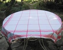 Square tablecloth, rose, pink, aqua tablecloth, 50s 60s tablecloth, retro kitchen