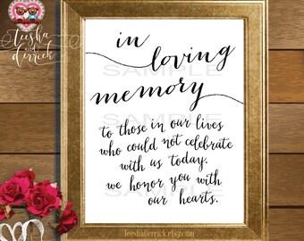 Instant download Printable In Loving Memory, Wedding Memorial Table Sign, Memory Sign,  (c0202)