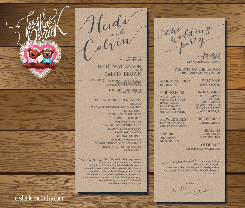 Printable Wedding Program And Ceremony Order In By TeeshaDerrick