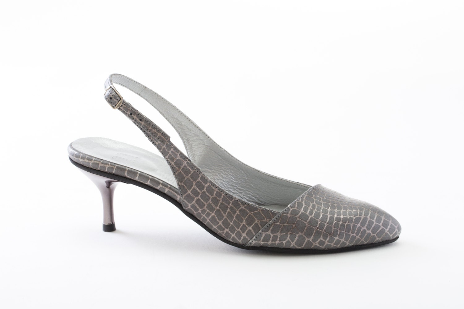 Silver Grey Kitten Heel Shoes - Is Heel