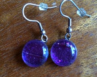 Purple Fused Glass Earrings