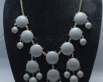 Grey bubble necklace ship from US Statement necklace for girls ivory necklace ivory jewelry jewlery Bib Necklace for women