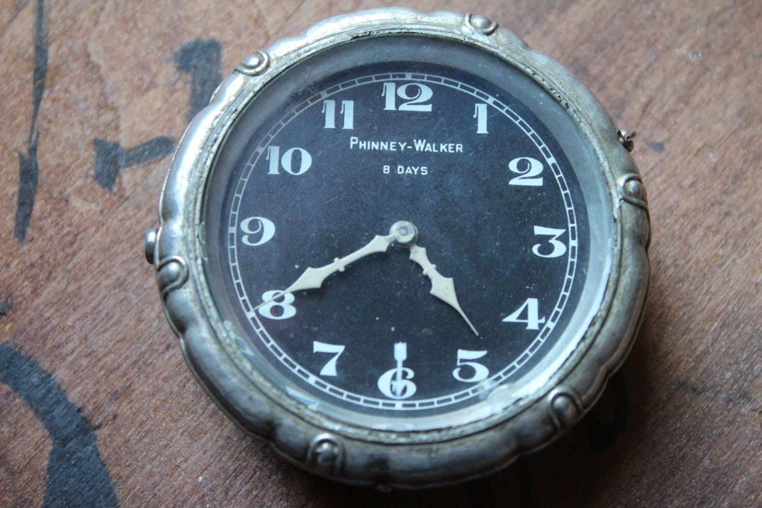 Antique Phinney Walker 8 Day Automobile Dashboard Clock
