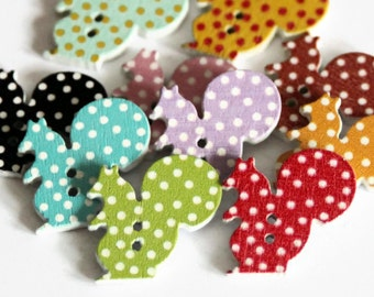 12 Squirrel Shaped Buttons - Painted Wood Buttons - 22mm x 22mm - Animal Buttons - Polka Dot Buttons - Woodland Animal Buttons - PW172