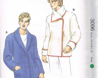 Size XS-XL Misses' Jacket Sewing Pattern - Shawl Collar Jacket - Fold Over Collar Button Front Jacket Sewing Pattern - Kwik Sew 3096
