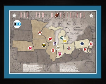 Big10 College Football Stadiums Teams Location Tracking Map, 24x18 | Print Gift Wall Art TFOOTBIG101824