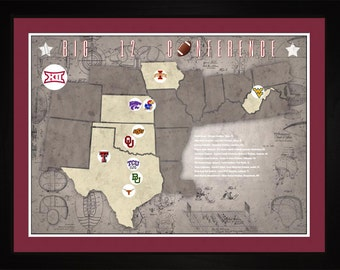 Big12 College Football Stadiums Teams Location Tracking Map, 24x18 | Print Gift Wall Art TFOOTBIG121824