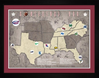 Conference USA College Football Stadiums Teams Location Tracking Map, 24x18 | Print Gift Wall Art TFOOTCUSA1824