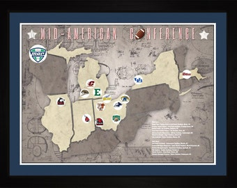 Mid-American Conference College Football Stadiums Teams Location Tracking Map, 24x18 | Print Gift Wall Art TFOOTMAC1824
