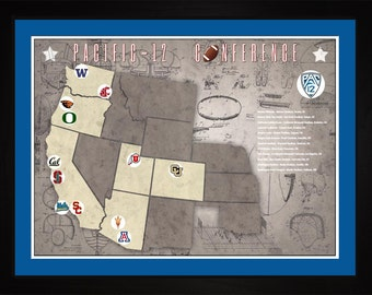 Pac12 Conference College Football Stadiums Teams Location Tracking Map, 24x18 | Print Gift Wall Art TFOOTPAC121824