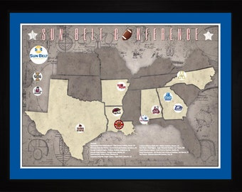 SunBelt Conference College Football Stadiums Teams Location Tracking Map, 24x18 | Print Gift Wall Art TFOOTSUN1824