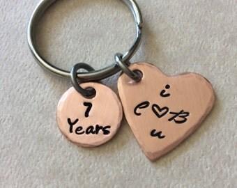 7 year Anniversary Copper Keepsake, Boyfriend, Girlfriend keychain