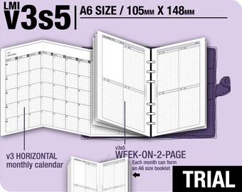 Trial [A6 v3s5 w/o daily] November to December 2017 - Filofax Inserts Refills Printable Binder Planner Midori.