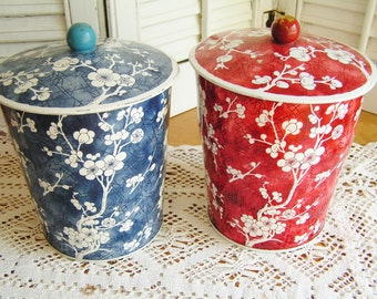 2 Vintage Cherry Blossoms Made in England English Biscuit Tins Red and White and Blue and White Vintage Decor Storage