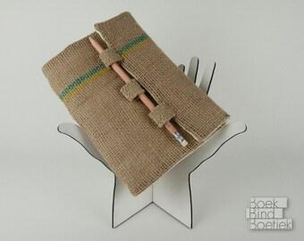 Upcycled Burlap Notebooks Pencil Closure 3