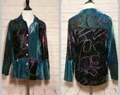 Marisol Crushed Velvet Long Sleeve Shirt for Ladies Size Medium//1990s Fashions//1990s Big Shirt//MOD Retro Art Deco Boho I Minimlist
