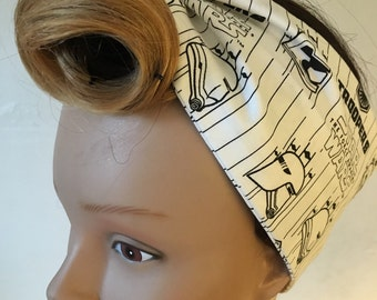 Star Wars White and Black Stormtrooper Handmade Pinup-Inspired Fabric Head Scarf