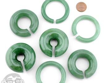 """Green Aventurine Stone Hoop Plugs (0G -3/4"""") Sold In Pairs"""