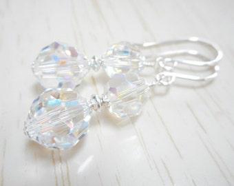 Crystal Aurora Borealis Earrings, Swarovski Christmas Earrings, Holiday Jewelry, Dangle Earrings, Sterling Silver Beaded Drop Earrings