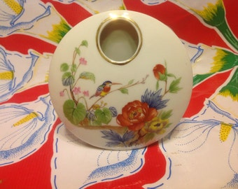 Vintage small round vase with hummingbird and floral designs- Japan