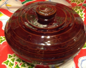 Vintage Marcrest daisy dot stoneware covered casserole dish or bowl
