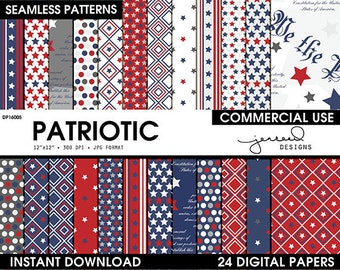 Patriotic Digital Paper || 4th of July Scrapbook Paper || Stars and Stripes || USA || Red, White, Blue, Grey || Commercial Use || DP16005