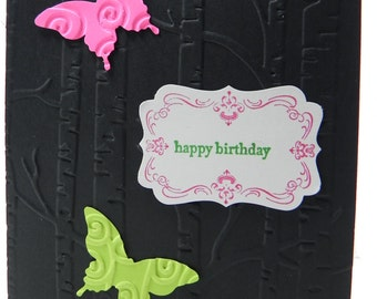 Butterflies Happy Birthday Hand Stamped Stampin Up Card Girl Woman Mom