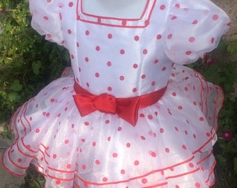 Petty Shirley Temple Dress, White Polka Dot Dress, Toddler Festive Theme, Girl Gown, Fashion Dress