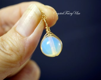 Gold Filled Opal Necklace - October Birthstone Necklace - Opal Choker - Wrapped White Opal Pendant -  Opal Necklace