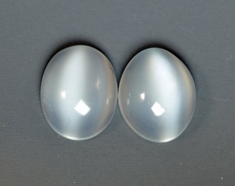 Clear Cat's Eye Moonstone 11x9mm Oval Cabochon Pair