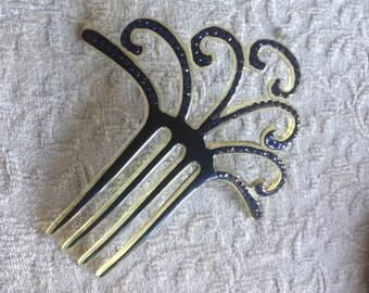 Vintage SALE: Celluloid Hair Comb - Celluloid Hair Comb - Celluloid Hair Comb with Blue Rhinestones - Blue Rhinestone Celluloid Hair Comb